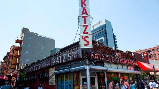 The facade and signs at Katz's Delicatessen, the