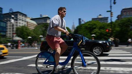 A Citi Bike user near Union Square. (May