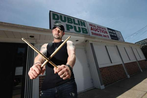 Drummer Pete Kontoulakos outside the Dublin Pub in
