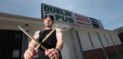 Drummer Pete Kontoulakos outside the Dublin Pub in