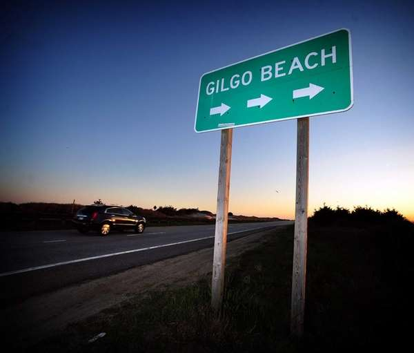 The Gilgo Beach sign stands along the west