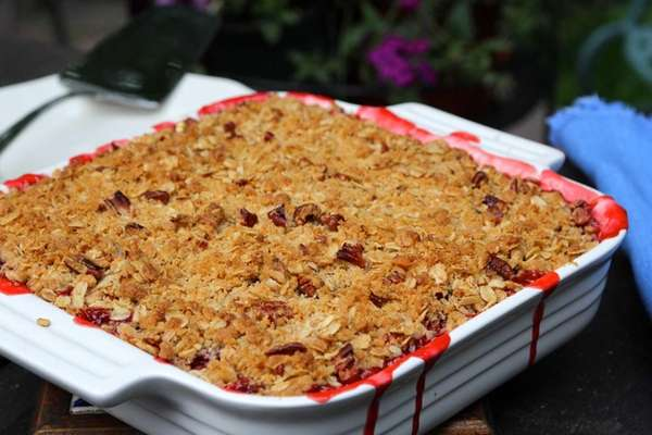 Strawberry-rhubarb crisp is a delightful treat at any