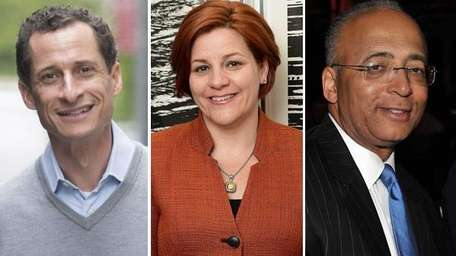 Christine Quinn, Anthony Weiner and Bill Thompson are