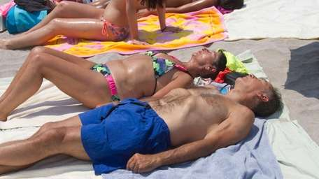 Sunbathing at Jones Beach. (June 24, 2013)