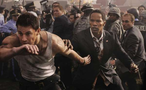 Jamie Foxx and Channing Tatum, left, in a