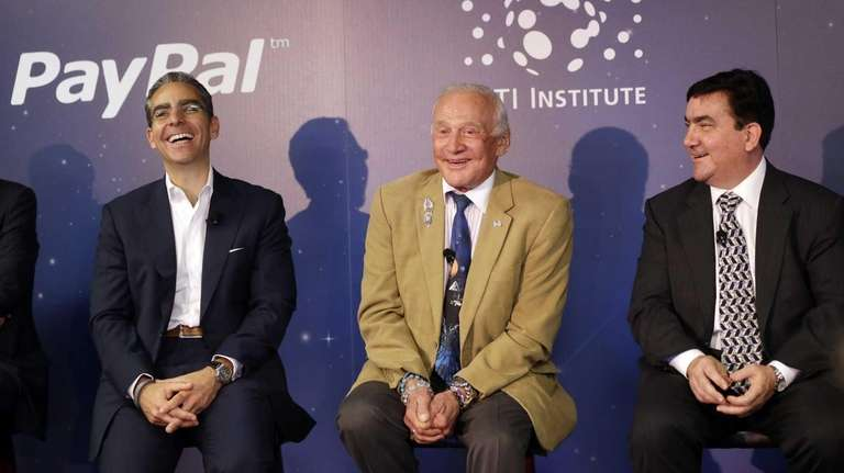 From left, PayPal president David Marcus, astronaut Buzz