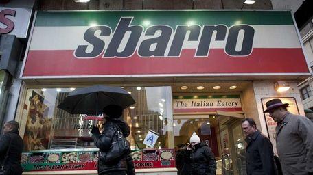 The exterior of a Sbarro restaurant in Manhattan