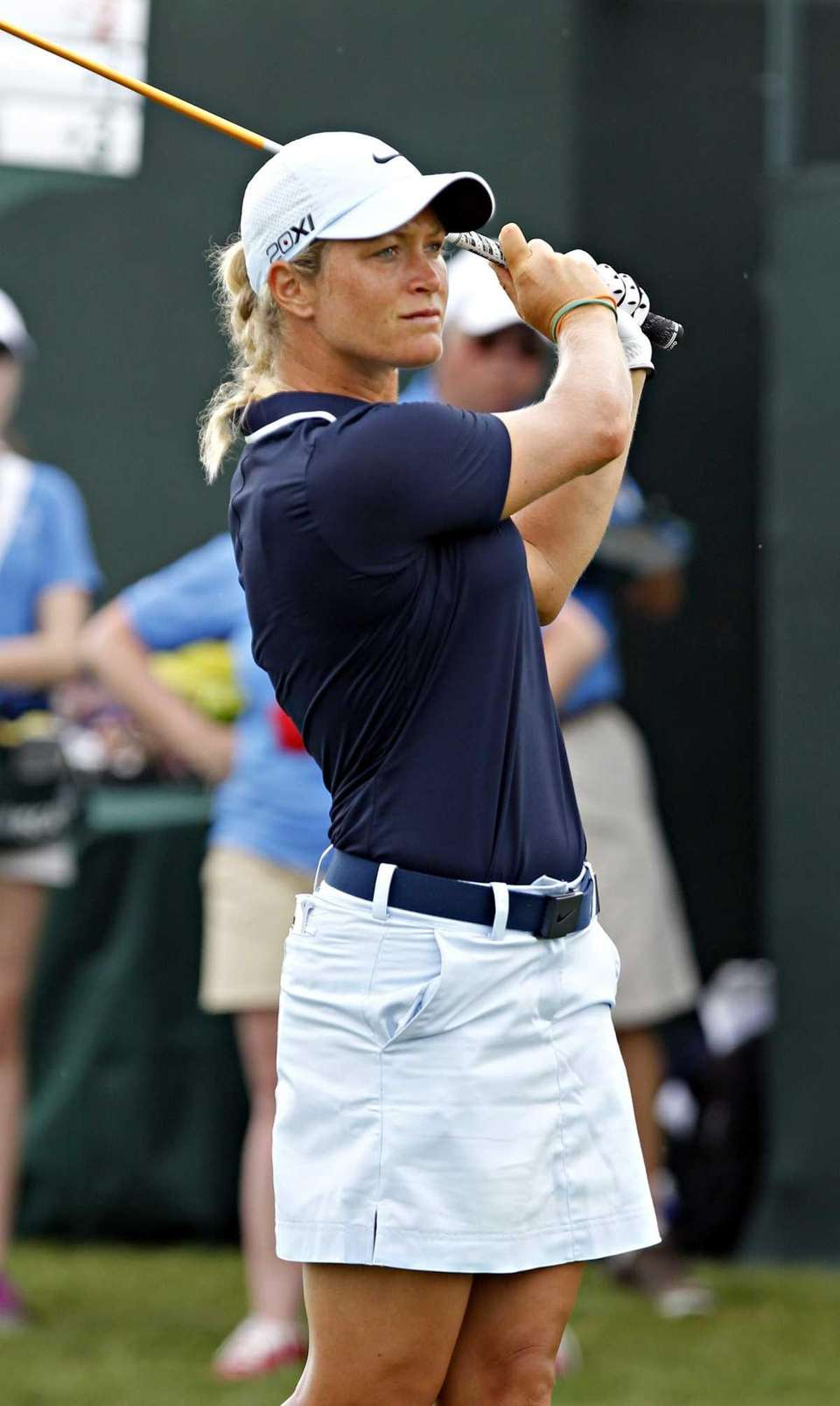 Stacy Lewis follows her tee shot on the