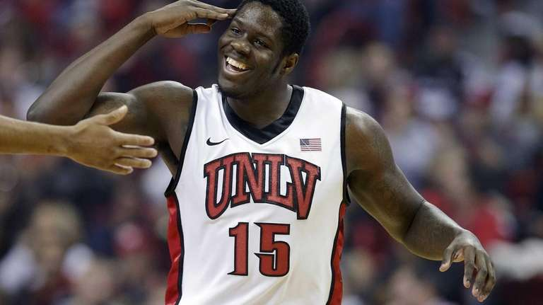 UNLV's Anthony Bennett reacts after hitting a three-point