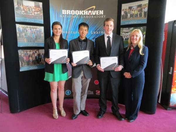 Science and Society Essay Contest winners, from left,