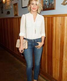 Actress Julianne Hough, wearing Paper Denim & Cloth,