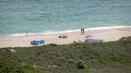 A nude beach opposite the Fire Island Lighthouse.