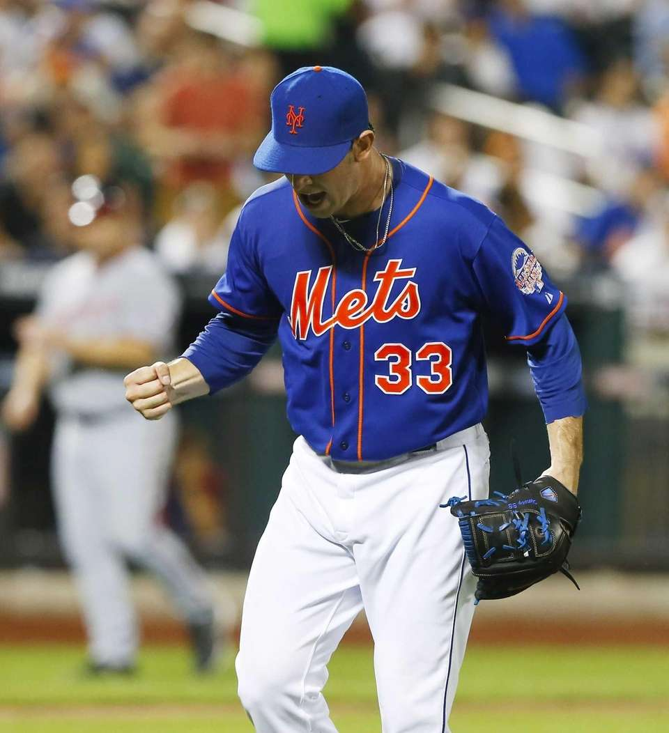 Matt Harvey of the Mets reacts after the