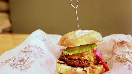 Bareburger's Roadhouse burger includes pepperjack cheese, bacon, avocado,