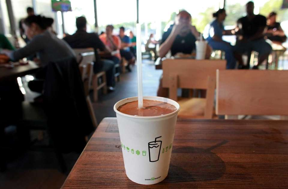 A chocolate shake at Shake Shack in Westbury.