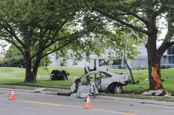 Scene of the accident on Walt Whitman Road