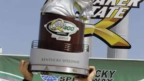 Matt Kenseth celebrates his victory in the NASCAR
