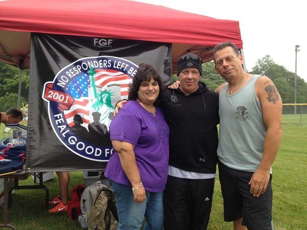 From left, Ann Bauman, John Feal, and Glen