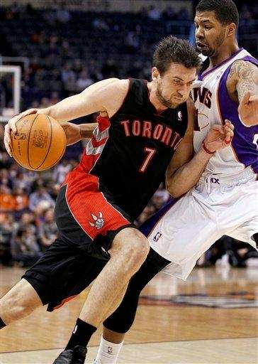 Toronto Raptors center Andrea Bargnani drives against the