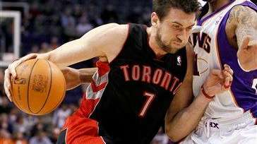 Toronto Raptors center Andrea Bargnani drives against the