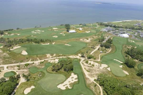 An aerial view of Sebonack Golf Club.
