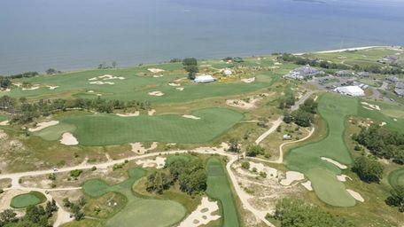 An aerial view of Sebonack Golf Club.