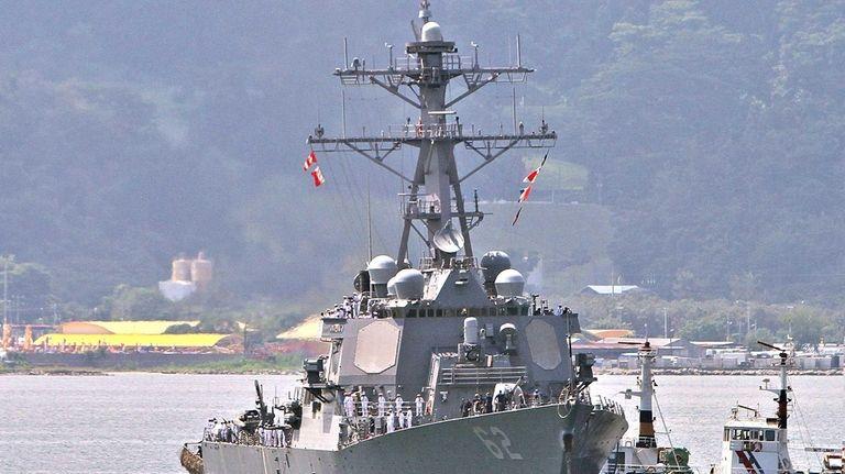US destroyer USS Fitzgerald arrives at the former