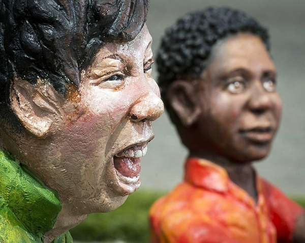 These two ceramic statues were created by sculptor