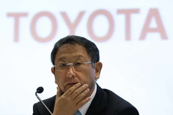 Akio Toyoda, president of Toyota Motor Corp., speaks