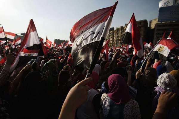 Egyptian opposition protesters celebrate in Cairo's landmark Tahrir