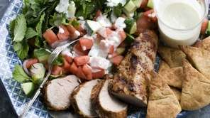Grilled pork tenderloin with watermelon-arugula salad. (June 10,