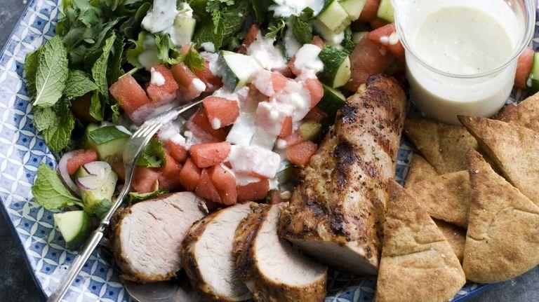 Grilled pork tenderloin with watermelon-arugula salad. (June 10,