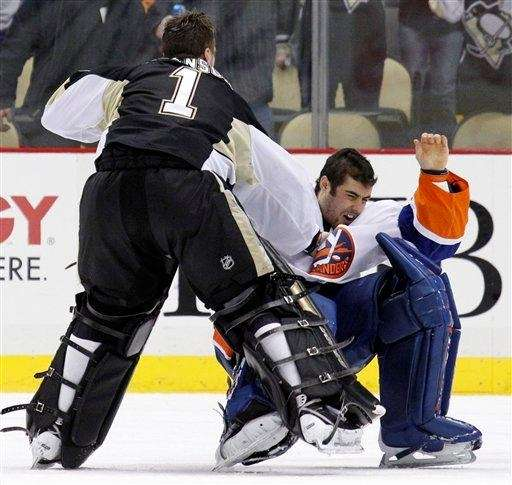 Feb. 2, 2011: Challenges Penguins goaltender Brent Johnson