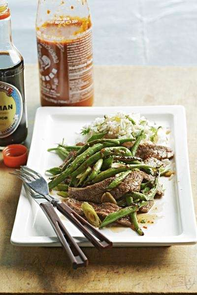 The soy-glazed flank steak with blistered green beans