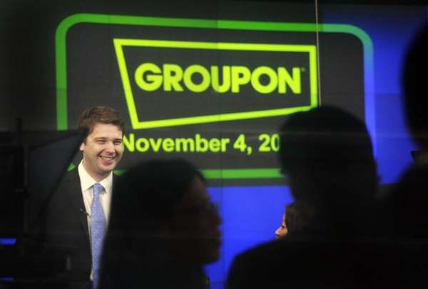 Andrew Mason, shown at Groupons Nasdaq IPO in