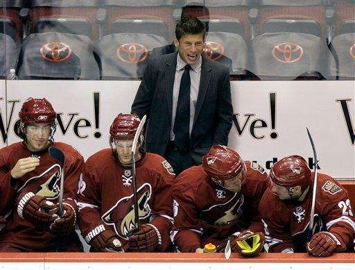 Phoenix Coyotes associate coach Ulf Samuelsson, top, shouts
