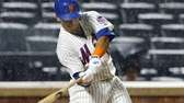 Juan Lagares of the Mets doubles in the