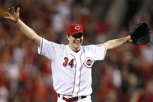 Cincinnati Reds pitcher Homer Bailey celebrates after throwing