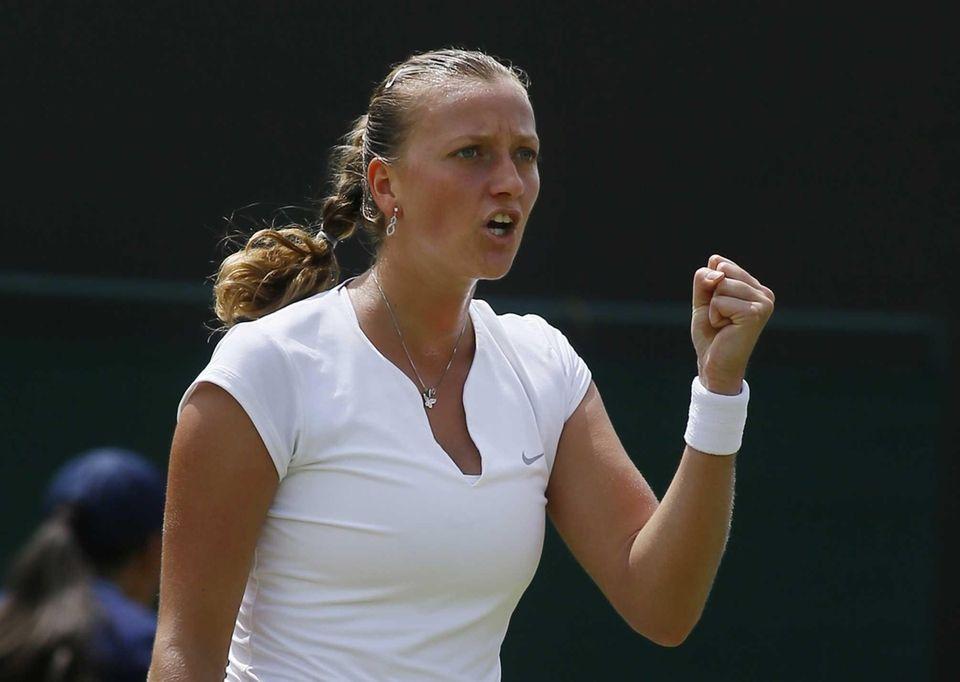 Petra Kvitova of the Czech Republic reacts after
