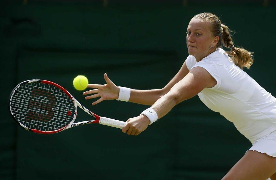 Petra Kvitova of the Czech Republic returns to
