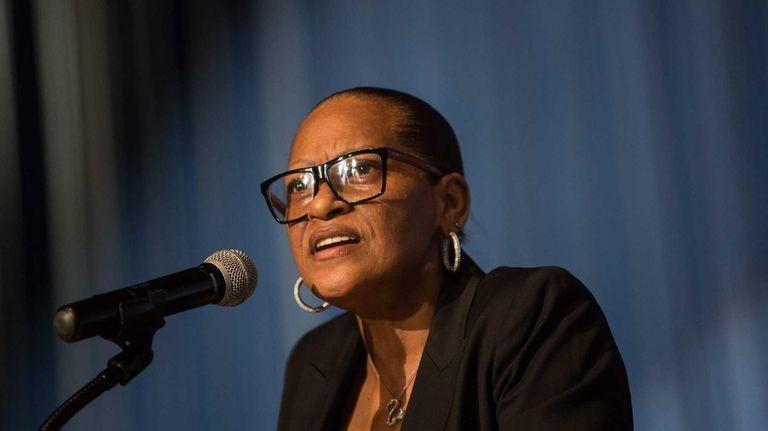 Hempstead School District Superintendent Susan Johnson speaks at