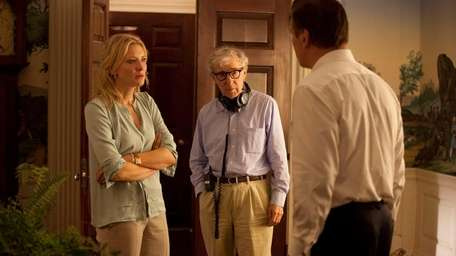 From left, Cate Blanchett, Director Woody Allen and