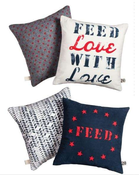 These Feed logo printed throw pillows are $25