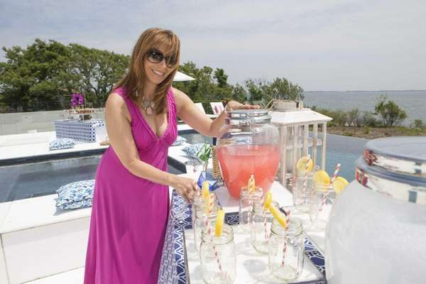 Jill Zarin, poolside at her home in Southampton.