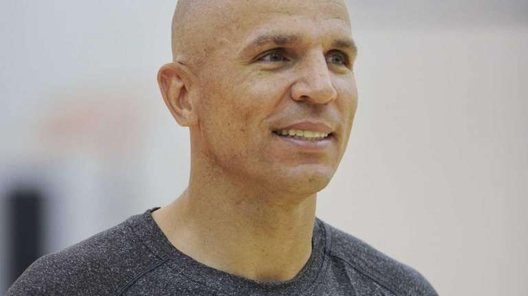 Jason Kidd talks with the media following practice