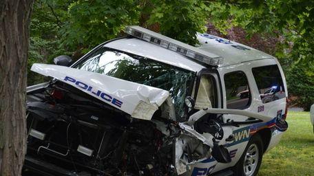 A Muttontown Village police lieutenant was injured and