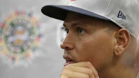 Alex Rodriguez speaks to reporters after his second