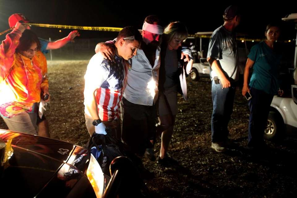 Witnesses and the injured comfort one another after