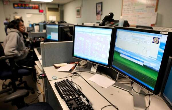 A Nassau County 911 call center where operators