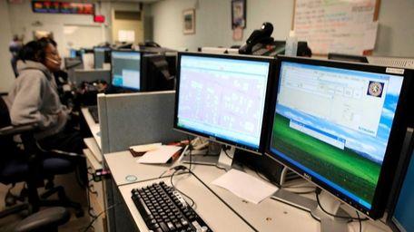 A Nassau County 911 call center where operators